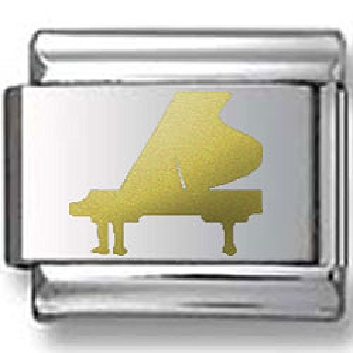 Piano Silhouette Gold Laser Italian Charm