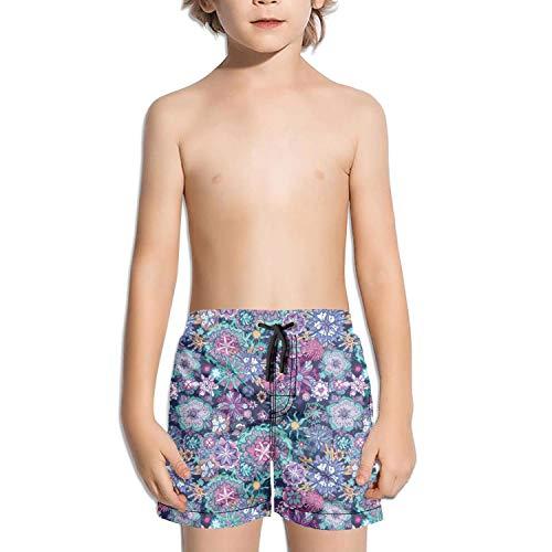 Wankens Kids Unisex Mini Blue Daisy pop Beach Swim Trunks Quick Drying Drawstring Shorts by Wankens