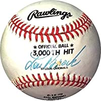 $108 » Lou Brock signed Rawlings Official 3000th Hit Baseball imperfect (8-13-79/St. Louis Cardinals) - Autographed Baseballs