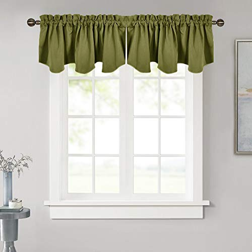 NICETOWN Window Treatment Blackout Valances - Blackout Tier Curtain 52 inches by 18 inches Scalloped Rod Pocket Valances, Olive (2-Packs)