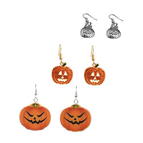 Obertis 3 Pairs Halloween Pumpkin Drop Earrings, Smiling Face Pumpkin Dangle Earring for Women Girls Kids Holiday Night