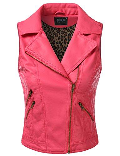 Doublju Womens Biker Asymmetrical Zip-Up Detailed Faux Leather Vest Rose Large