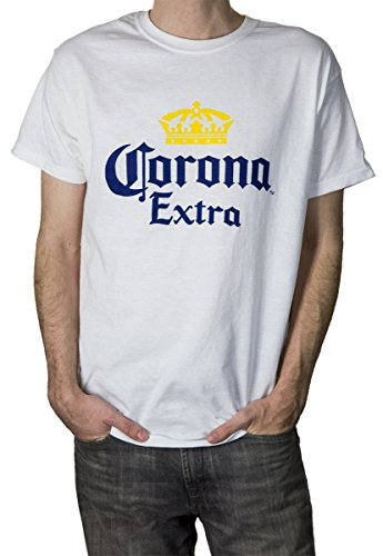 Corona Extra Men's Crown Logo T-Shirt (Small, White) ()
