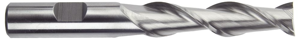 Morse Cutting Tools 44053 High Helix Long Length Single End Mills, High-Speed Steel, Center Cutting, Bright Finish, 2 Flutes, 3/8'' x 3/8'' Size