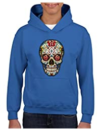 Xekia Sugar Skull Roses Hoodie For Girls and Boys Youth Kids