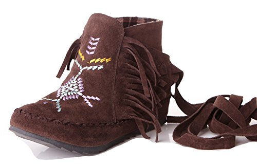 With Fringed Elevator Ankle On Pull Women's Boots Embroidered Wrap Round Heels Toe Fringe Aisun Low Ankle Coffee Booties vqXZ5w
