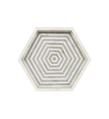 Striking Hexagonal Bone Inlay Tray in ()