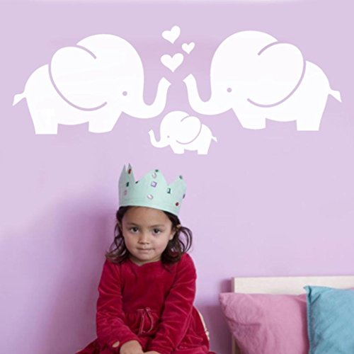 Iuhan Sweet Elephant Family Wall Sticker, Elephant Removable Art Vinyl Mural Home Children's Room Decor Wall Stickers (White) ()