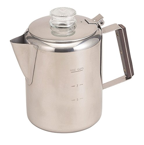 HIC Stovetop Coffee Percolator, 18/8 Stainless Steel, 9-Cup