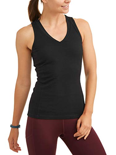 Athletic Works Women's Dri More Core Shelf-Bra Racerback Tank, Black, M
