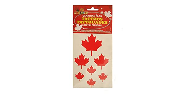 Woodys New 1 Pack Of 7 Red Maple Leafs Tattoos