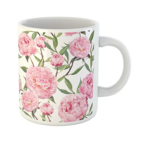 Semtomn Funny Coffee Mug Pattern Peony Pink Flowers Floral Watercolor Water Watercolour Color 11 Oz Ceramic Coffee Mugs Tea Cup Best Gift Or - China Peony Pink