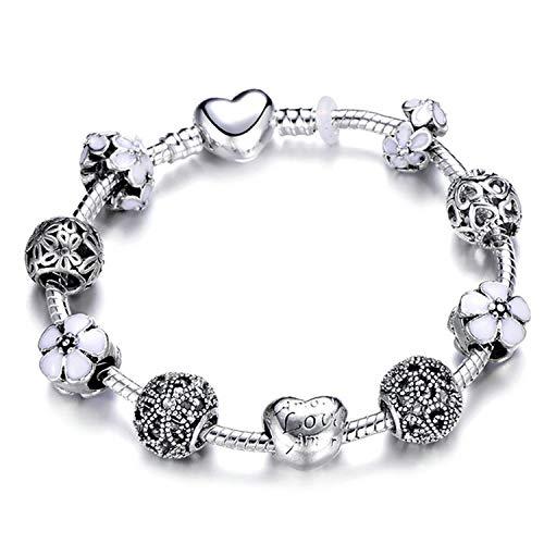 HANBINGPO Authentic Silver Plated 925 Crown Beads Key Crystal Heart Charm Bracelet Fits Brand Bracelet for Women DIY Jewelry,A1,21cm