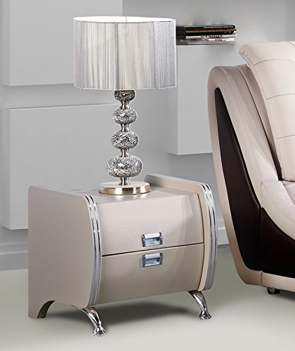 US Pride Furniture B8049-NS Faux Leather Contemporary Nightstand, Grey/Pearl White