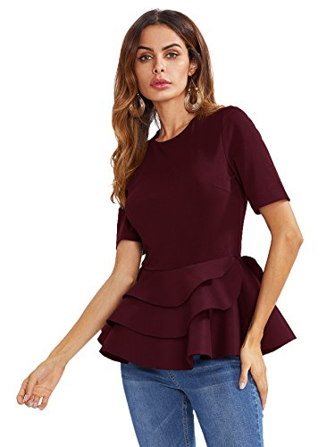 - Romwe Women's Vintage Layered Ruffle Hem Slim Fit Round Neck Peplum Blouse Burgundy XXL