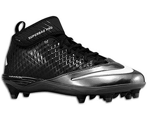 hot sale online 1fdb3 0a368 Nike Men s Lunar Super Bad Pro D Football Cleats Black Silver Size 12.5