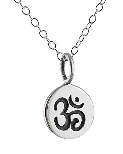 (Sterling Silver Tiny Om Ohm Tag Charm Pendant Necklace, 18 Inch Chain)