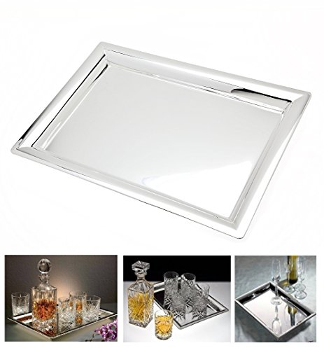 Le'raze Mirrored Rectangular Silver Tray (Beverage Silver Plated)