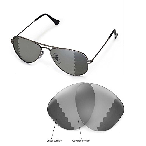 Walleva Replacement Lenses for Ray-Ban Aviator RB3044 Small Metal 52mm Sunglasses - Multiple Options Available(Transition/Photochromic - - Rb3044 Polarized