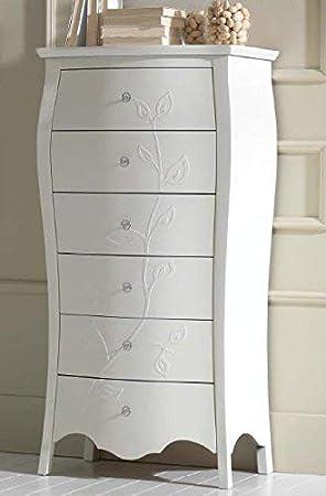 árbol de – cajonera modelo – cajonera, Color blanco, decoración Hoja, H. 144 X P. 47 X L 70, 45 kg, 0.60 MC/M3, N. colli1. Plano del mueble: Madera maciza cabeza con