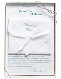 Lillian Rose Maid of Honor Embroidered Hankie, 12-Inch