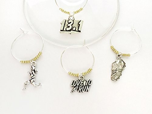(Half Marathon wine charms gift, Perfect for Running Enthusiast in your life. Includes Love to Run, sneaker, runner figurine, and 13.1 sign. Set of 4. GOLD BEADS.)