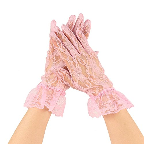 Fancy Floral Sheer Lace Tea Party Vintage Style Ruffle Wrist Dressy Gloves Pink ()