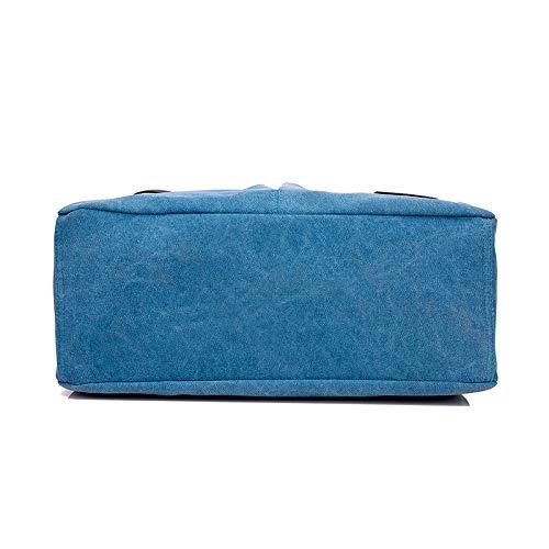 Capacidad Lona Estudiante Hombro Bolsa Lago Xmy Mujer Portátil Bolso Sencillo Azul Mujer Para De Casual Mensajero Gran Salvaje CnZqgxt8w
