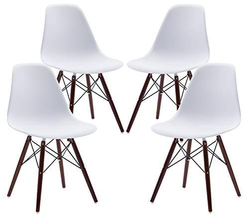 Phoenix Home Kenitra Contemporary Plastic Dining Chair, Bone White, Set of 4