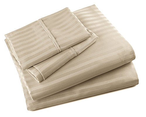 Luxor Linens Bed Sheet Set - Empire Line - Luxurious Hotel Quality Extra Soft & Wrinkle Resistant Empire Embossed Dobby Stripe 90GSM Microfiber 4-Piece Sheet Set - Available in Various Sizes & Colors (Stripe Dobby Classic Shirt)