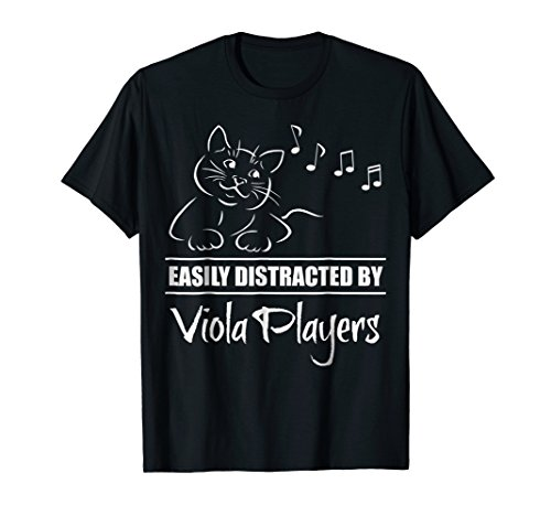 Curious Cat Easily Distracted by Viola Players Music Notes T-Shirt