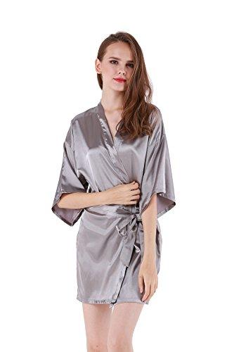 (Women's Satin Plain Short Kimono Robe Bathrobe, Medium, Gray)