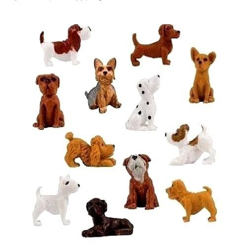 12 Pieces - Complete Set Adopt a Puppy Dog Figures Series 4 Dachshund Basset Hound Bull Terrier Jack Russell Dalmatian Black Labrador Yorkshire Boxer Bloodhound Bulldog Poodle Chihuahua Mini Toy -