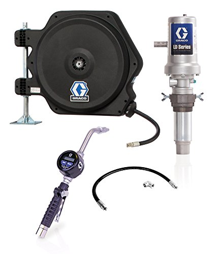 Graco 24J777 LD Series AirPowered 5:1 Oil Pump Tank, Package with Hose Reel, Electronic Dispense Meter, Inlet Kit and Mounting Bracket