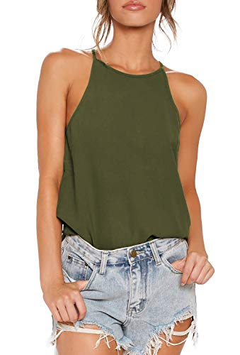 (OYANUS Womens Halter Tops Summer Beach Workout Shirts Cute Sleeveless Loose Tank Tops Comfort Tee Cami Tunic Olive M)