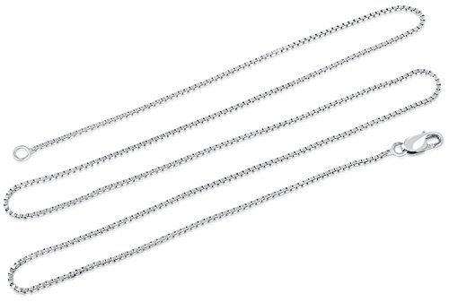 (Blush Jewelry Sterling Silver Rhodium Plated 1mm Box Chain Necklace, 18