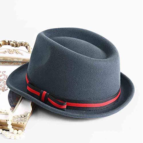 Mujeres Brim Panamá Cap Gris Trilby color Sun Invierno Hat Clásico Short Fedora Jazz Negro Otoño FfAwxTn