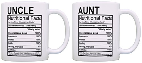 Aunt Uncle Gifts Aunt & Uncle Nutritional Facts Aunt Gifts Uncle Gifts 2 Pack Gift Coffee Mugs Tea Cups White