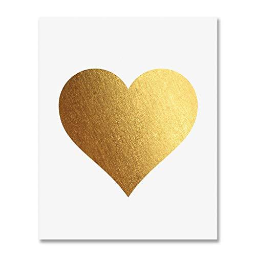 Gold Foil Heart Print Wall Art Modern Heart Decor Love Nursery Room Poster 5 inches x 7 inches A32