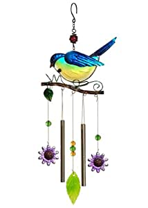 Russco lll WC125729 Metal and Glass Blue Bird Wind Chime