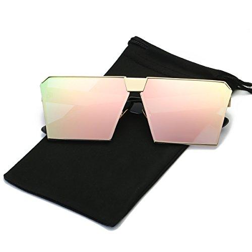 LKEYE - Unique Oversize Shield Vintage Square Sunglasses LK1705 Gold Frame/Pink Lens