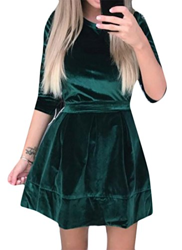 Green High Belted Cromoncent Fit Dress Long Slim Velvet Rise Womens Sleeve Flare Casual qwnxR8nS47
