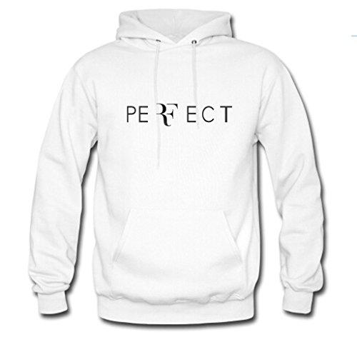 Custom Unisex Roger Federer Perfect Logo Hoodie Mens And Womens Hoodie Sweatshirt Us S White