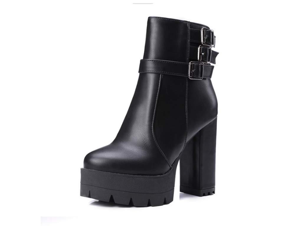 QQNVXUE Europa und den Vereinigten Staaten Hochhackige Kurze Stiefel Duantong Student Freizeit Seitlichem Reißverschluss Gürtelschnalle Damen Stiefel Angenehm warm (Farbe   SCHWARZ größe   40)