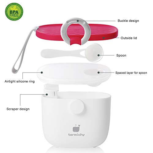 Termichy Baby Formula Dispenser, Portable Formula Dispenser Container with Scoop and Carry Handle for Travel Outdoor Activities for Baby Infant, 500ml (Red)