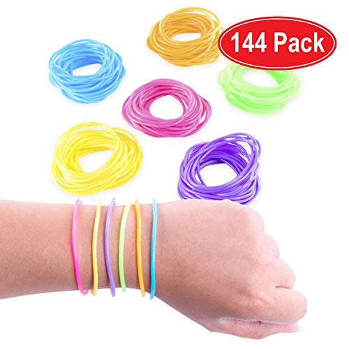 Super Z Outlet 80s Colorful Retro Rock Pop Star Rainbow Diva Disco Jelly Neon Gel Stretchable Bracelets Bands for Theme Events, Colorful Assortment, Assorted Toy Party Favor Prizes (Assorted 144pk) ()