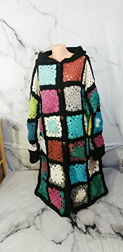 - Granny Square Coat, Boho Crochet Sweater, Patchwork Cardigan