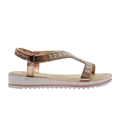 SAUTE STYLES Ladies Womens Flat Studs Party Comfy Open Toe Diamante Summer Sandals Shoes Size 3-8 Champagne R7nJC