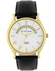 Titan Mens Contemporary Chronograph/Multi Function Work Wear,Gold/Silver Metal/Leather Strap Mineral Crystal,...