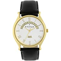 Titan Men's Contemporary Chronograph/Multi Function Work Wear,Gold/Silver Metal/Leather Strap Mineral Crystal, Quartz, Analog, Water Resistant Wrist Watch